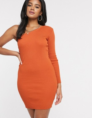 I SAW IT FIRST one shoulder jumper dress in orange