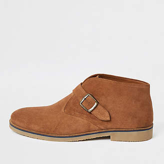 River Island Mid brown suede monk strap boots