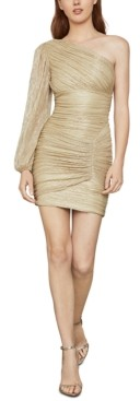 BCBGMAXAZRIA Metallic One-Shoulder Mini Dress