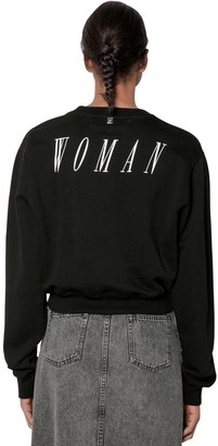 Off-White Woman Print Cotton Sweatshirt