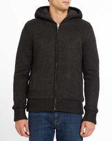 Schott NYC Charcoal Zipped Sherpa Cardigan