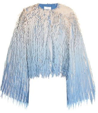 Marco De Vincenzo Laser Cut Fringed Georgette Jacket - Womens - Blue Multi