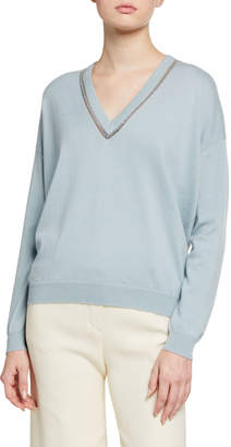 Brunello Cucinelli Cashmere Monilli-Trim V-Neck Sweater