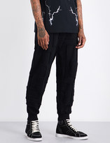 Marcelo Burlon County of Milan Frayed-detail relaxed-fit mid-rise cotton-jersey jogging bottoms