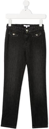 Chloé Kids Interwoven Waistband Slim-Fit Jeans