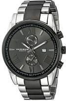 Akribos XXIV Men's AK812TTB Multifunction Quartz Movement Watch with Dark Gray Dial and Silver and Black Stainless Steel Bracelet