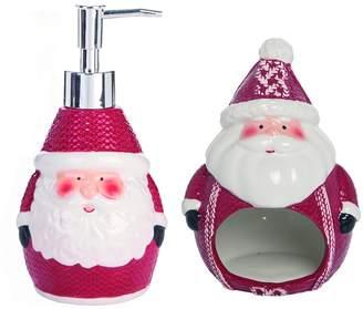 Transpac Santa Sponge Holder W/Snowman Soap Dispenser 2-Piece Set