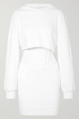 RtA Bailey Layered Cotton-jersey And Mesh Mini Dress - White