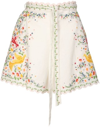 Zimmermann Carnaby Embroidered Linen Blend Shorts