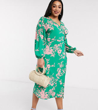 ASOS DESIGN Curve wrap midi tea dress with bright floral