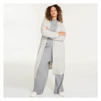 Joe Fresh Women+ Long Mix Knit Cardi, Grey (Size 2X)