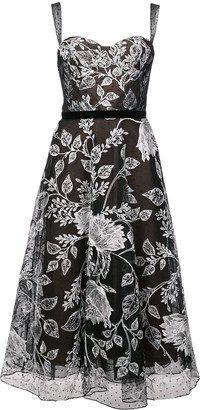 Marchesa Notte Floral Embroidered Flared Dress