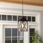 "Birch Lane Birch LaneTM Heritage Sandy Bay 1-Light Outdoor Hanging Lantern Heritage Size: 10"", Finish: Dark Weathered Oak and Oil Rubbed Bronze"