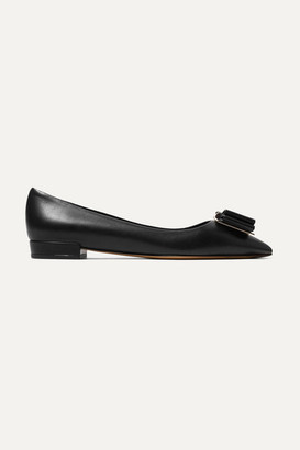 Salvatore Ferragamo Zeri Bow-embellished Leather Point-toe Flats - Black