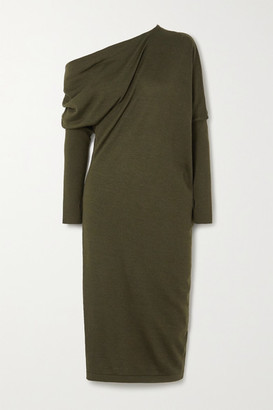 Tom Ford One-shoulder Cashmere And Silk-blend Midi Dress - Green