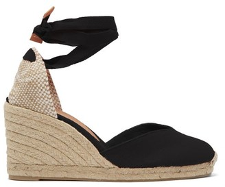 Castaner Chiara 80 Canvas & Jute Espadrille Wedges - Black