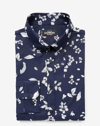 Express Extra Slim Floral Wrinkle-Resistant Performance Dress Shirt