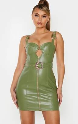PrettyLittleThing Khaki Faux Leather Gold Buckle Zip Detail Bodycon Dress
