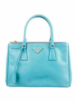 Prada Saffiano Lux Double Zip Galleria Tote Turquoise