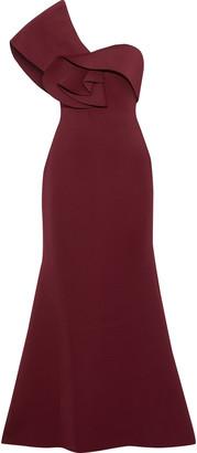 Badgley Mischka One-shoulder Ruffle-trimmed Neoprene Gown