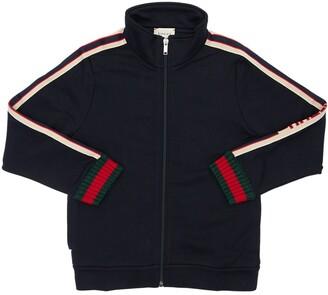 Gucci Zip-up Cotton Sweatshirt W/ High Collar