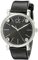 Calvin Klein Women's K3B231C1 'Congent' Black Dial Black Leather Strap Swiss Quartz Watch