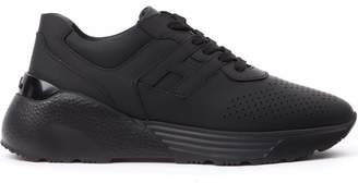 Hogan Active One Black Rubberized Leather Sneakers