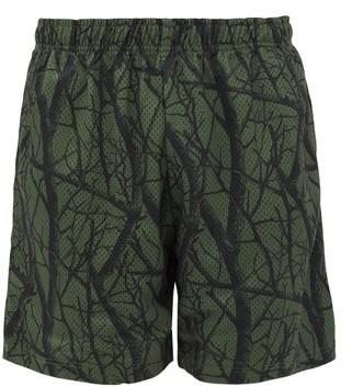 John Elliott Practice Tree-print Shell Shorts - Dark Green