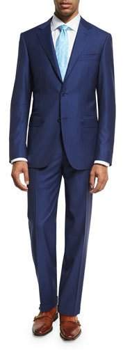 Canali Striped Wool Two-Piece Suit, Blue