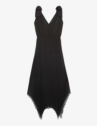 The Kooples Pleated satin maxi dress