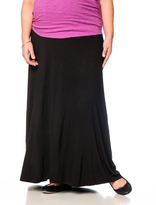 Motherhood Plus Size Fold Over Belly Lightweight Maternity Skirt