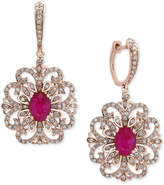 Effy Amoré by Certified Ruby (1-9/10 ct. t.w.) and Diamond (3/4 ct. t.w.) Filigree Drop Earrings in 14k Rose Gold