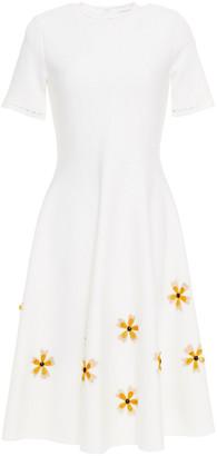 Oscar de la Renta Floral-appliqued Stretch-knit Dress