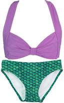 Fin Fin Fin Fun Mermaid Girls Clamshell Bikini Set, Blue Top, Malibu Pink Bottom, Medium