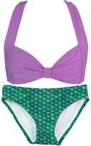 Fin Fin Fin Fun Mermaid Girls Clamshell Bikini Set, Dark Blue Top, Rainbow Reef Bottom, Small