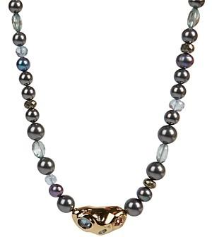 Alexis Bittar Stone Studded Crumpled Beaded Single Strand Necklace, 16
