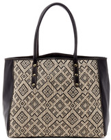 San Diego Hat Company Woven Straw Faux Leather Tote