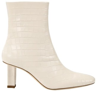 STAUD Brando Croc-Embossed Leather Ankle Boots