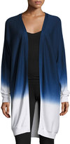 Three Dots Cashmere-Blend Ombre Open-Front Cardigan, White/Night