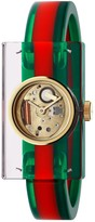 Gucci Plexiglas watch with green and red motif, 24x40mm