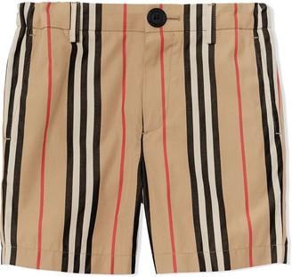 BURBERRY KIDS Icon Stripe Cotton Chino Shorts