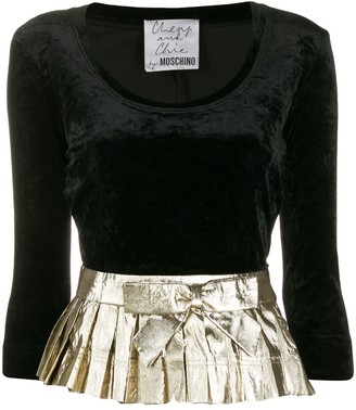Moschino Pre-Owned 1990's Pleated Waist Velvet Blouse
