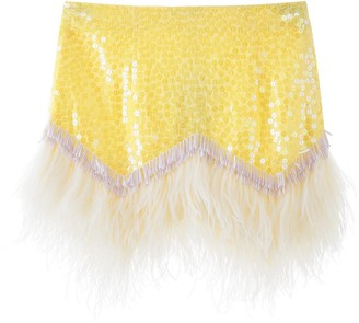 ATTICO Sequin Feather Mini Skirt