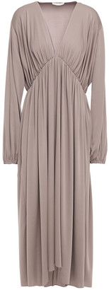 The Row Sasha Gathered Stretch-silk Midi Dress