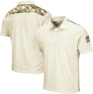 Colosseum Men's Heathered Oatmeal West Virginia Mountaineers OHT Military Appreciation Desert Camo Polo