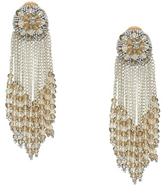 Oscar de la Renta Chain Cluster Beaded C Earrings (Crystal Shade/Silver) Earring