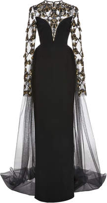 Pamella Roland Stretch Crepe Gown With Seed Bead Embroidery And Tulle Skirt