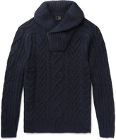 Dunhill Shawl-collar Cable-knit Cashmere Half-zip Sweater - Navy