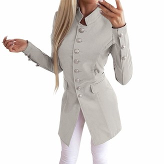 Kalorywee Sale Cleance Blazer KaloryWee Long Blazers for Women Open Front Long Sleeve Stretchy Stand Neck Blazer Jacket Gray