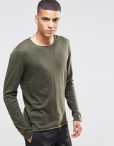 Selected Silk Mix Knitted Sweater with Raw Edge